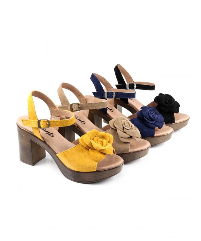 Sandálias de Senhora Ginova com Flor