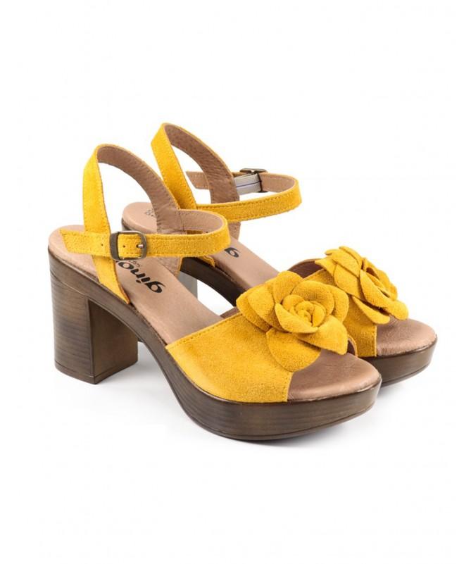 Sandálias de Senhora Ginova Amarelo com Flor