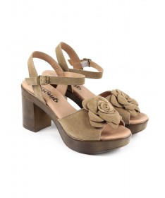 Sandálias de Senhora Ginova Taupe com Flor