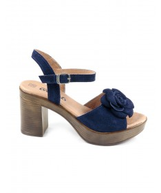 Sandálias de Senhora Ginova Azul com Flor