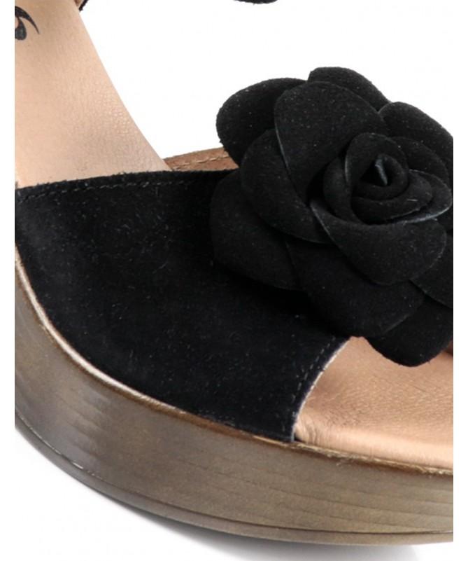 Sandálias de Senhora Ginova Preto com Flor