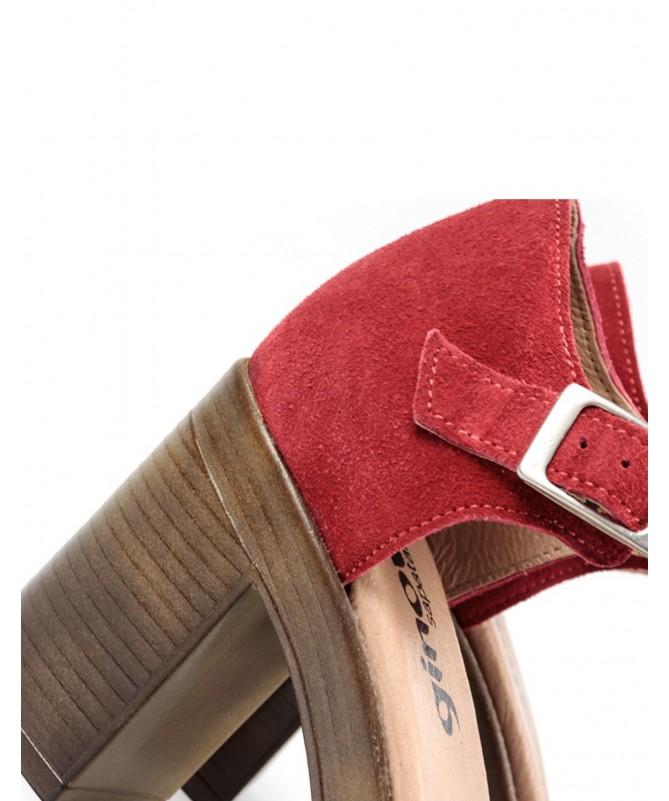 Sandálias de Mulher Ginova Vermelho Compensada Fechada Atrás