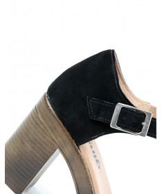 Sandálias de Mulher Ginova Preto Compensada Fechada Atrás