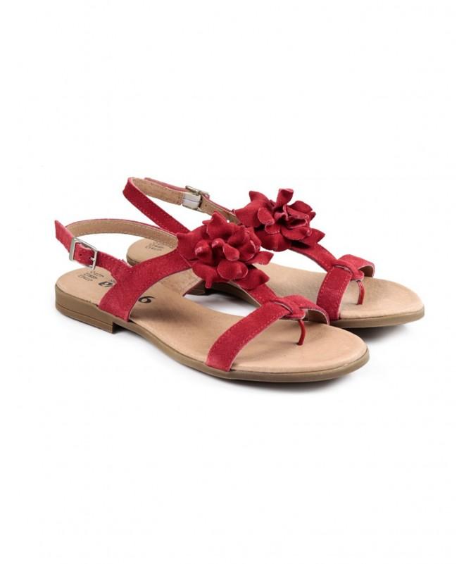 Sandálias Baixas de Senhora Ginova Vermelha de Enfiar no Dedo com Flor