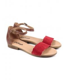Sandálias Rasas de Mulher Ginova Vermelha com Tira Ondulada