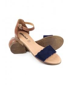 Sandálias Rasas de Mulher Ginova Azul com Tira Ondulada