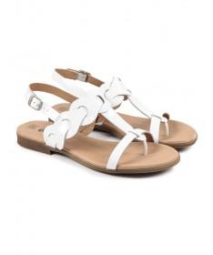 Sandálias Rasas de Senhora Brancas Ginova em Verniz