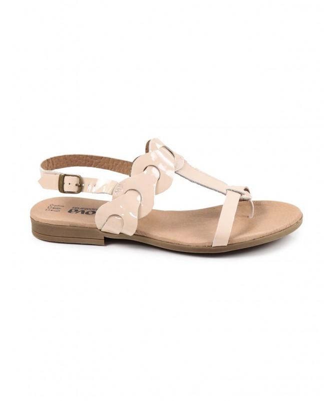 Sandálias Rasas de Senhora Nude Ginova em Verniz