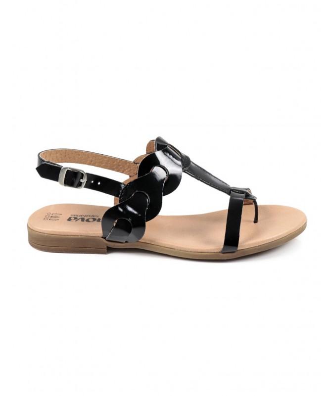Sandálias Rasas Pretas de Senhora Ginova em Verniz