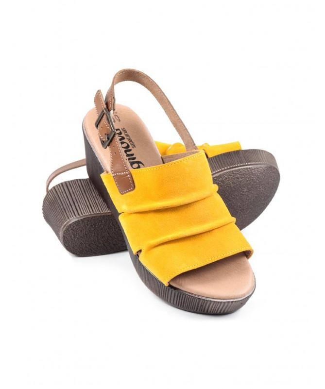 Sandálias de Mulher Ginova Amarelas de Cunha com Tira Atrás