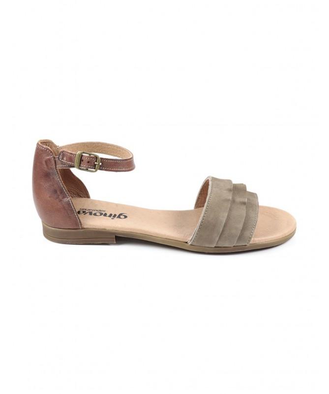 Sandálias Baixas de Senhora Taupe Ginova com Folhos