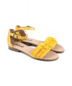 Sandálias Baixas de Senhora Amarelas Ginova com Folhos