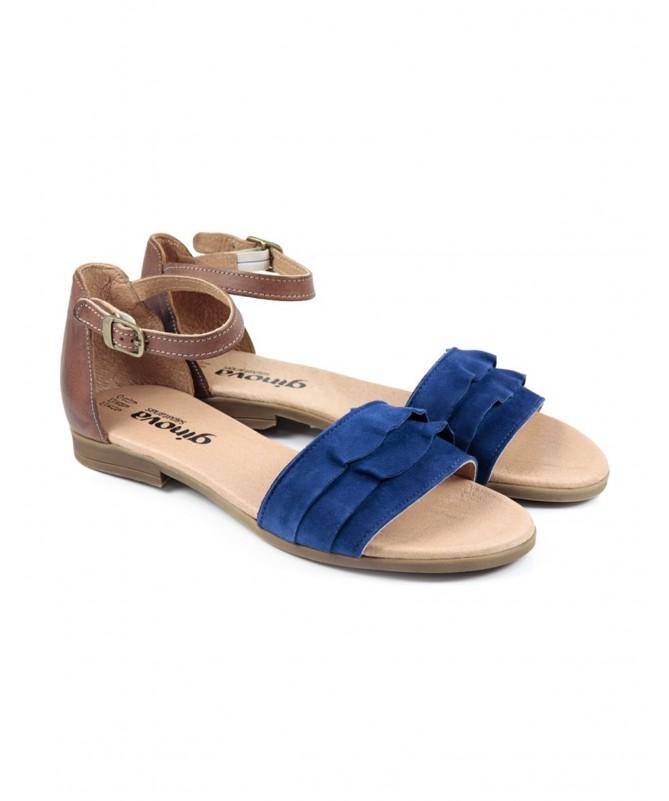 Sandálias Baixas de Senhora Azuis Ginova com Folhos