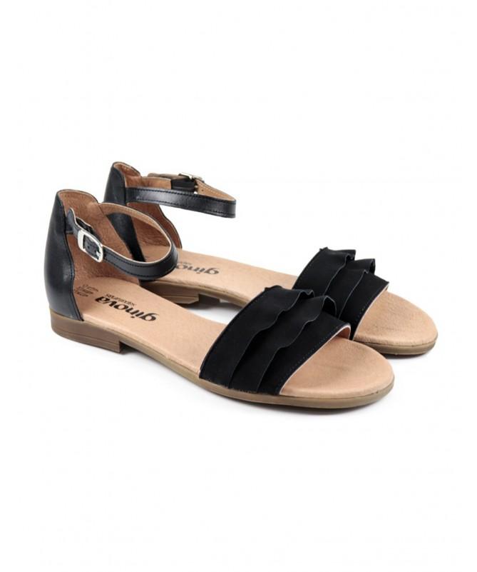 Sandálias Baixas de Senhora Pretas Ginova com Folhos