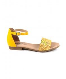 Sandálias Baixas de Senhora Amarelas Ginova com Tira Almofadada à Frente