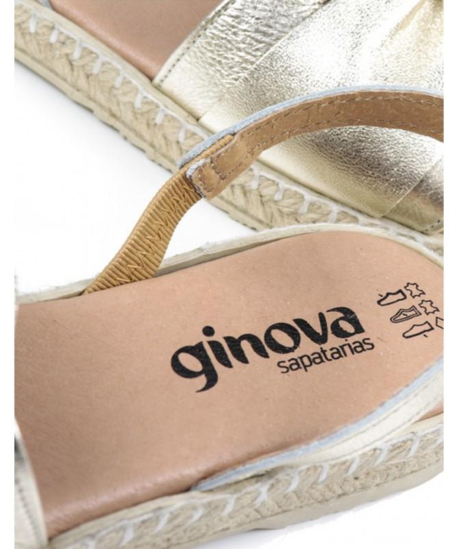 Sandálias Rasas de Mulher em Platina Ginova com Sola de Esparto