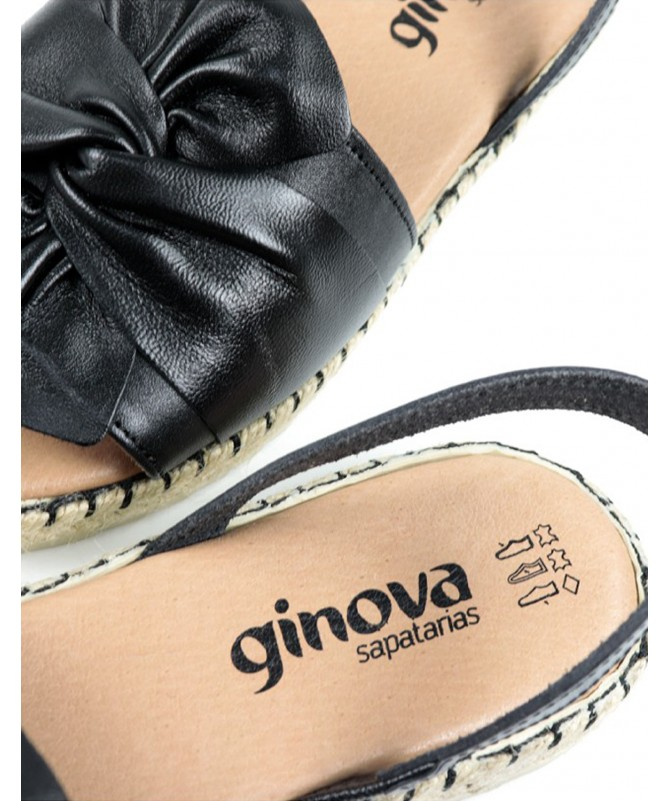 Sandálias Rasas de Mulher em Preto Ginova com Sola de Esparto