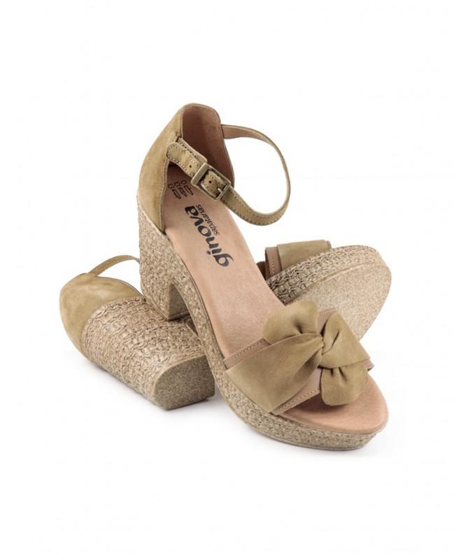 Sandálias Compensadas de Mulher em Taupe Ginova
