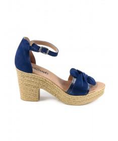 Sandálias Compensadas de Mulher em Azul Ginova