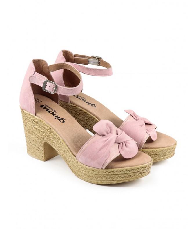 Sandálias Compensadas de Mulher em Rosa Ginova