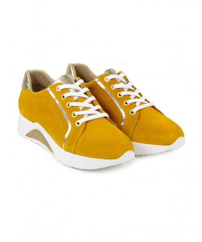 Sapatilhas de Mulher Ginova Amarelas com Detalhes Dourados