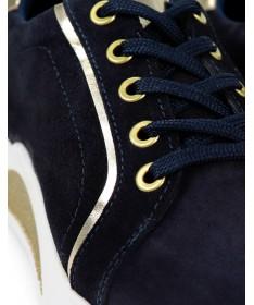 Sapatilhas de Mulher Ginova Azuis com Detalhes Dourados