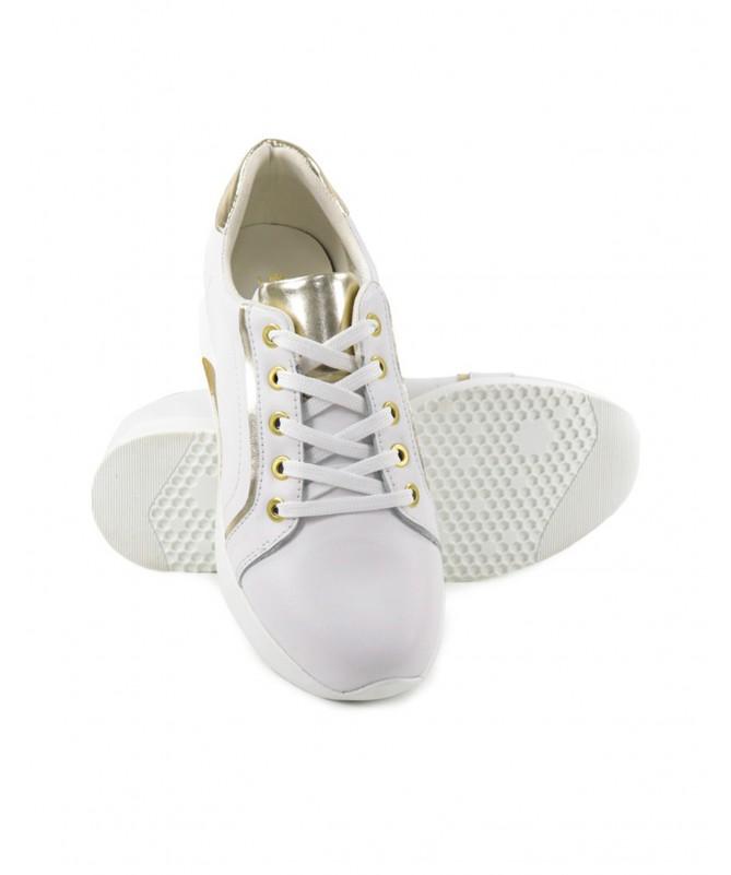 Sapatilhas de Mulher Ginova Brancas com Detalhes Dourados