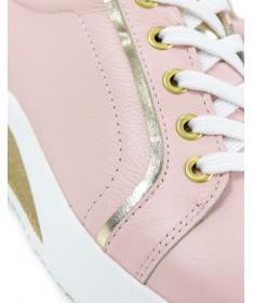 Sapatilhas de Mulher Ginova Rosas com Detalhes Dourados