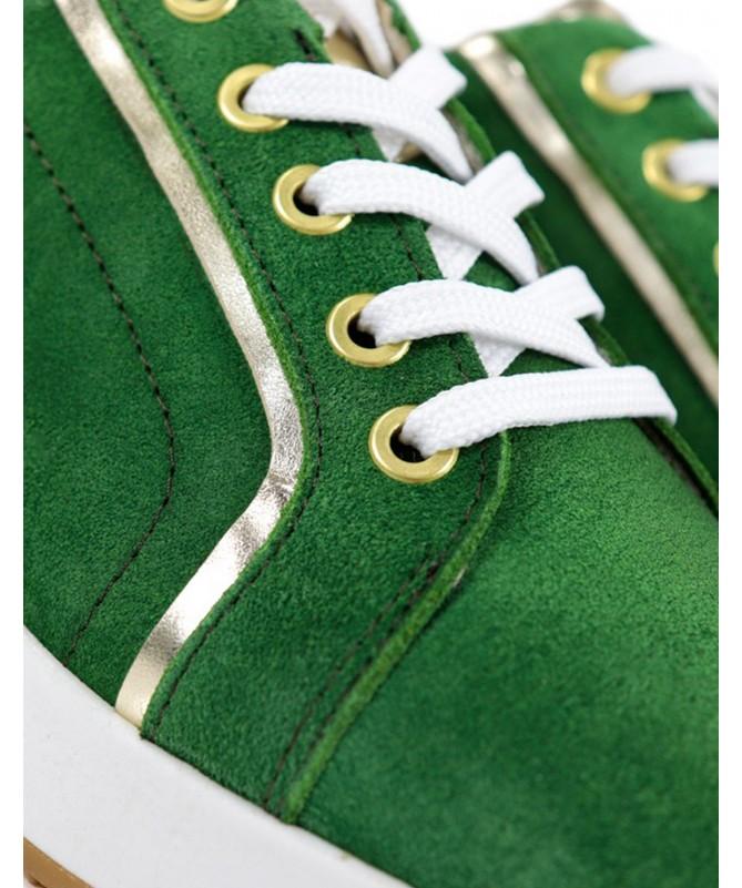 Sapatilhas de Mulher Ginova Verdes com Detalhes Dourados