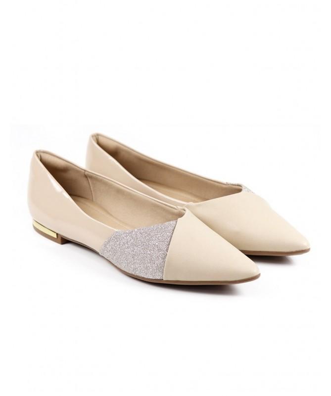 Sapatos de Senhora Ortopédico Baixo Bege com Glitter Piccadilly
