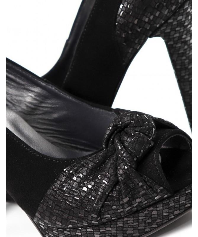 Sapatos Pretos de Senhora Pretos Elegantes com Nó Ginova