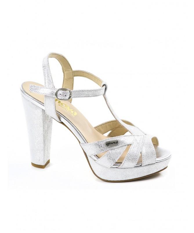 Sandálias Prateadas de Senhora Elegantes Ginova
