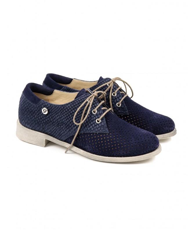 Sapatos Baixos de Senhora Azuis Perfurados