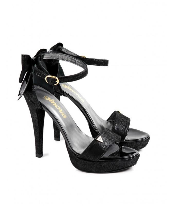 Sandálias Pretos de Mulher Elegantes com Laço Ginova