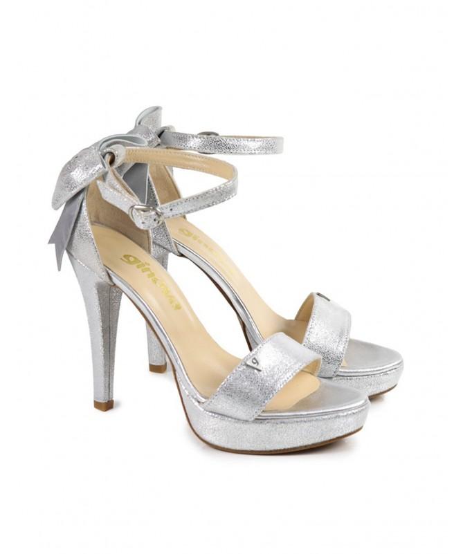 Sandálias Prata de Mulher Elegantes com Laço Ginova