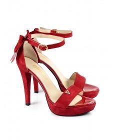 Sandálias Vermelhas de Mulher Elegantes com Laço Ginova