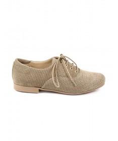 Sapatos de Senhora Ginova Taupe com Atacadores