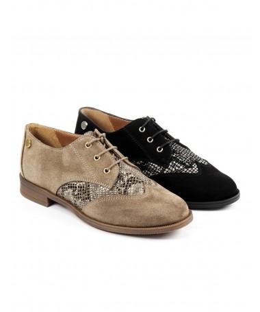 Sapatos de Senhora Oxford com Padrão Cobra Ginova