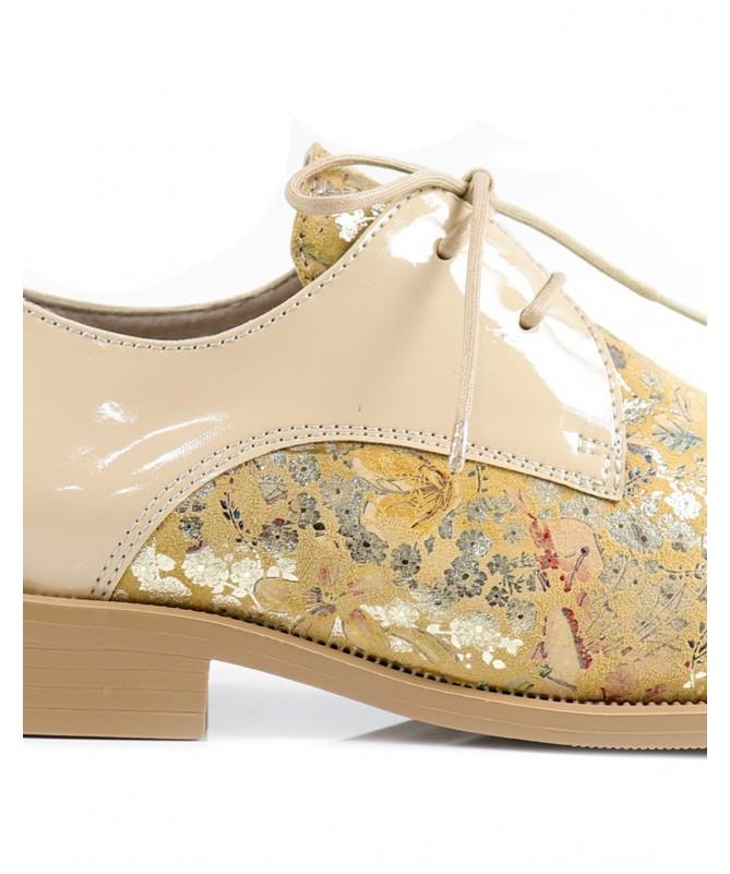 Sapatos Bege Rasos Ginova Floridos