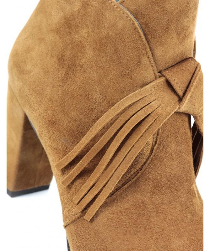Botas de Senhora Camel com Franjas em Nó Ginova