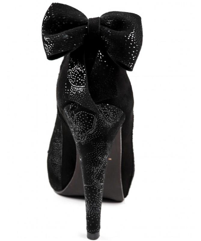 Sapatos Pretos de Senhora Ginova com Laço Atrás