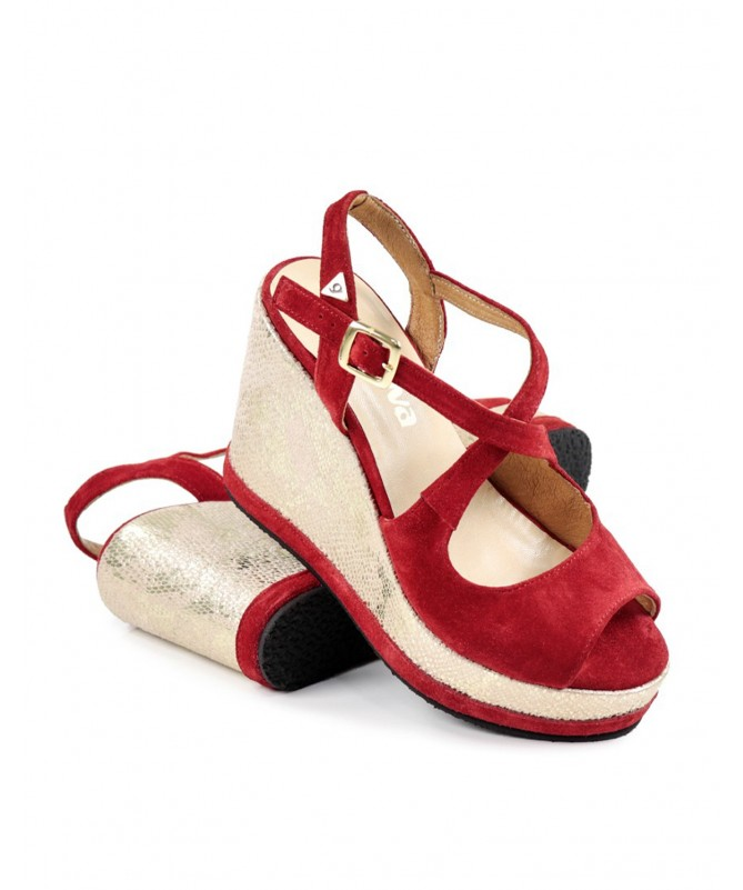 Sandálias Vermelhas de Cunha Ginova com Brilho