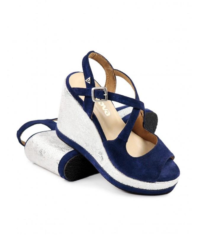 Sandálias Azuis de Cunha Ginova com Brilho