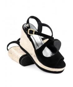 Sandálias Pretas de Cunha Ginova com Brilho