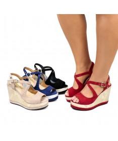 Sandálias de Cunha Ginova com Brilho