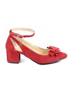 Sapatos Vermelhos de Mulher Ginova com Laço à Frente