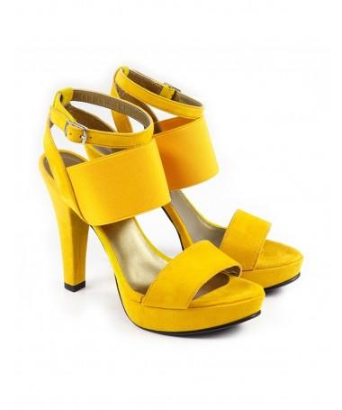 Sandálias de Mulher Elegante Amarelas de Elástico Ginova