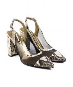 Sandálias de Mulher em Cobra Bege Ginova