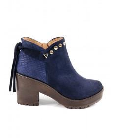 Botas Azuis de Senhora Ginova com Croco