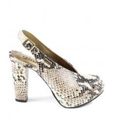 Sandálias de Senhora em Cobra Bege de Corte Elegante Ginova